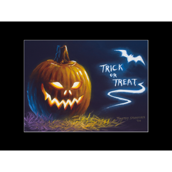 "Fine art matted print of Timothy Stanford's original acrylic painting ""Trick or Treat"""