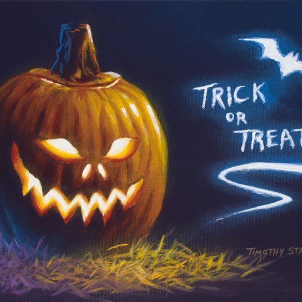 Acrylic still life painting of a Halloween jack-o-lantern
