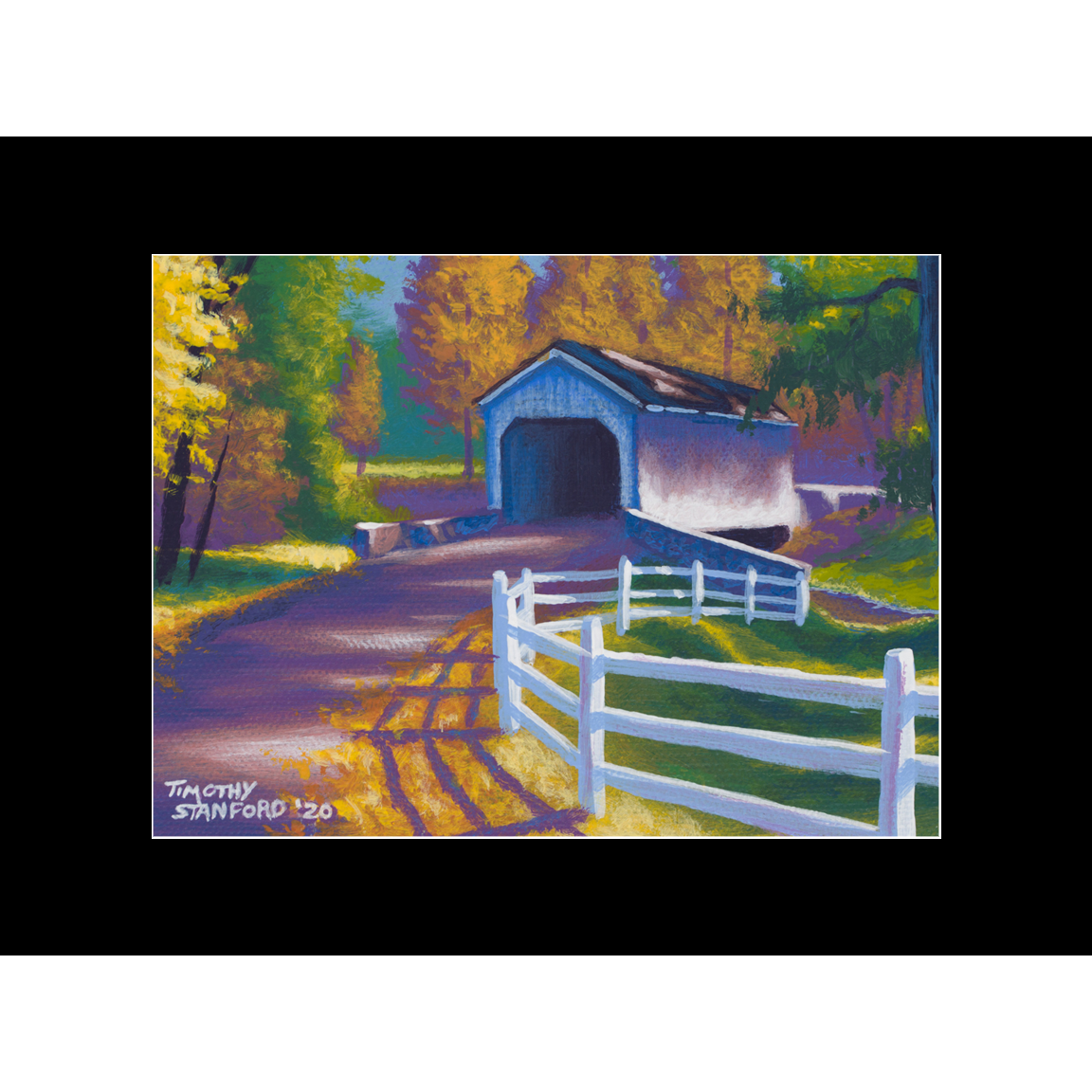 "Fine art matted print of Timothy Stanford's original acrylic painting ""Fall at Loux Bridge"""