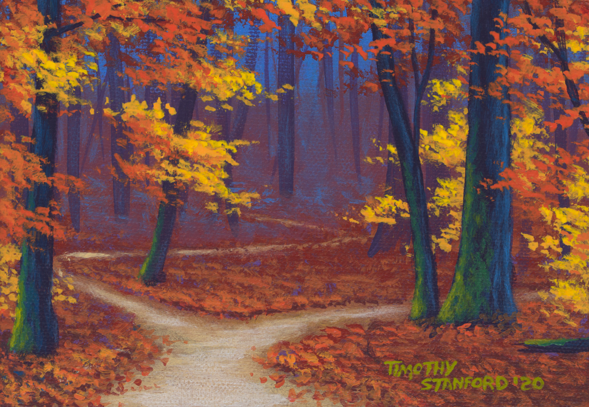 Acrylic landscape painting of Five Mile Woods during the fall