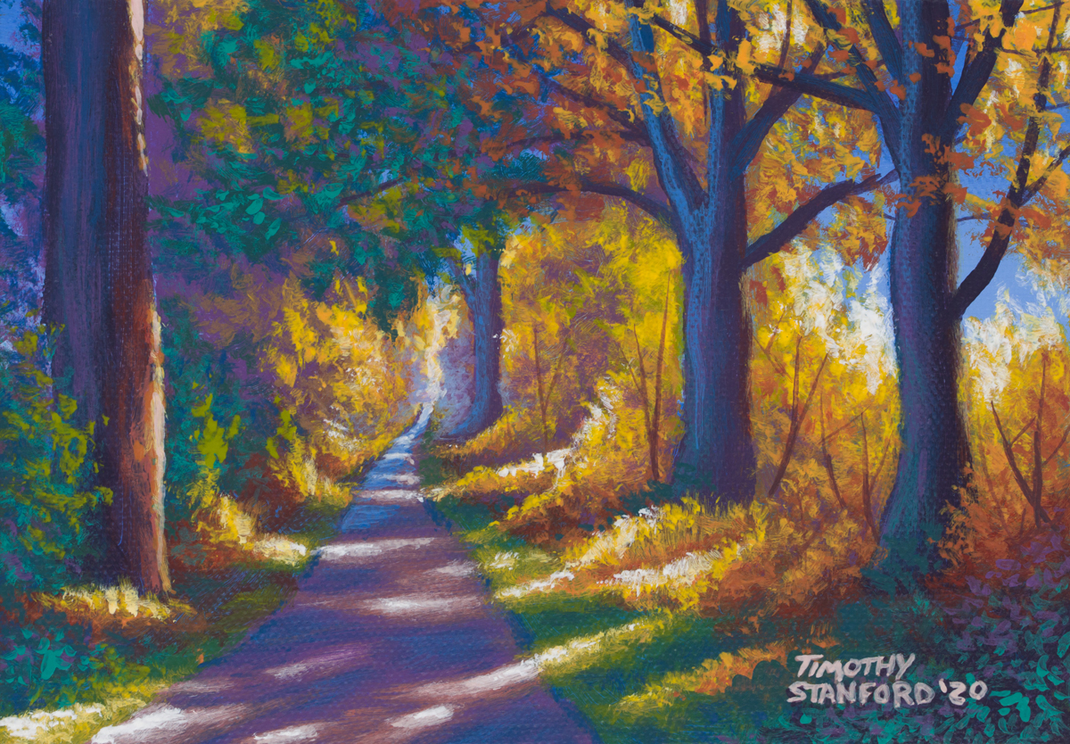 Acrylic landscape painting of a Tyler Park path during the fall