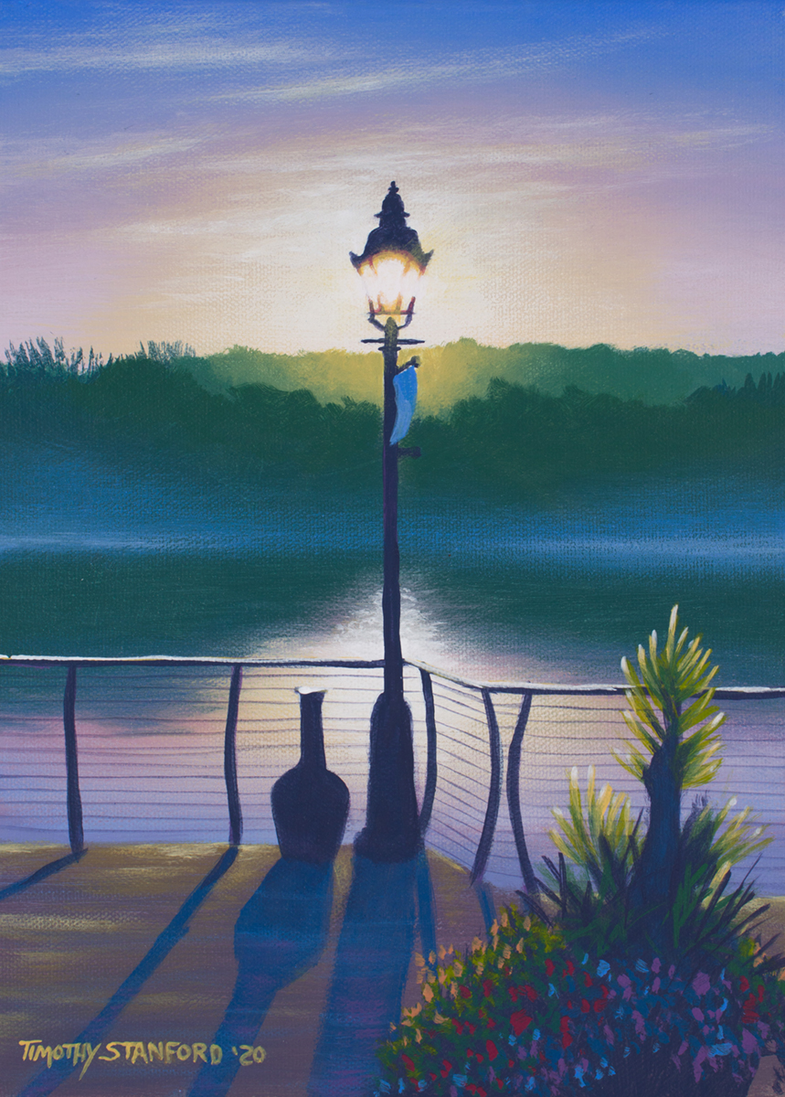 Acrylic landscape painting of a river lamp post at sunrise
