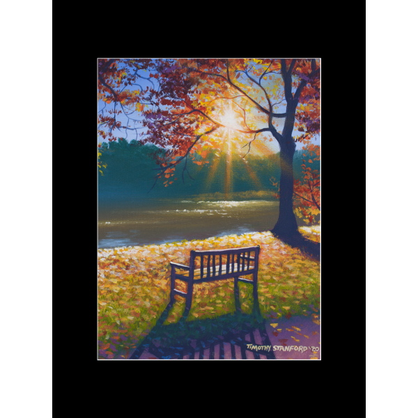 "Fine art matted print of Timothy Stanford's original acrylic painting ""Take a Seat"""