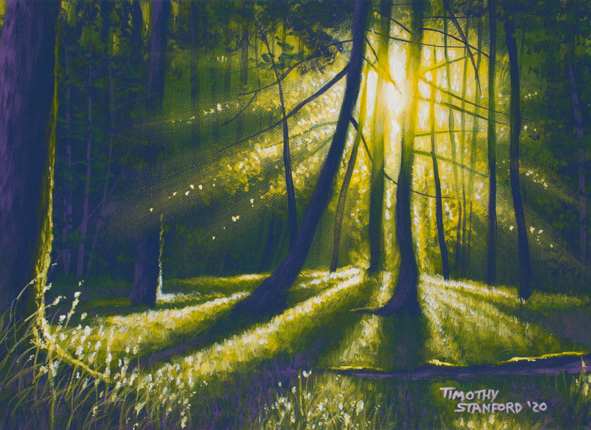 Acrylic landscape painting of a green forest sunset