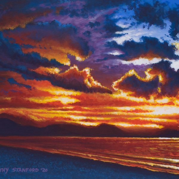 Acrylic landscape painting of a stormy beach sunset