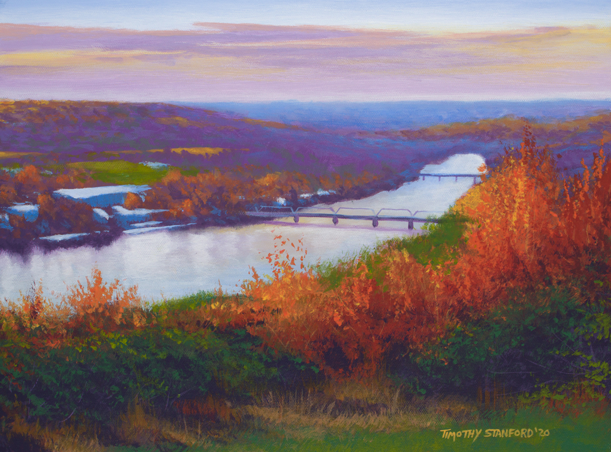 Acrylic landscape painting of Goat Hill Overlook in Lambertville NJ at sunset during fall.