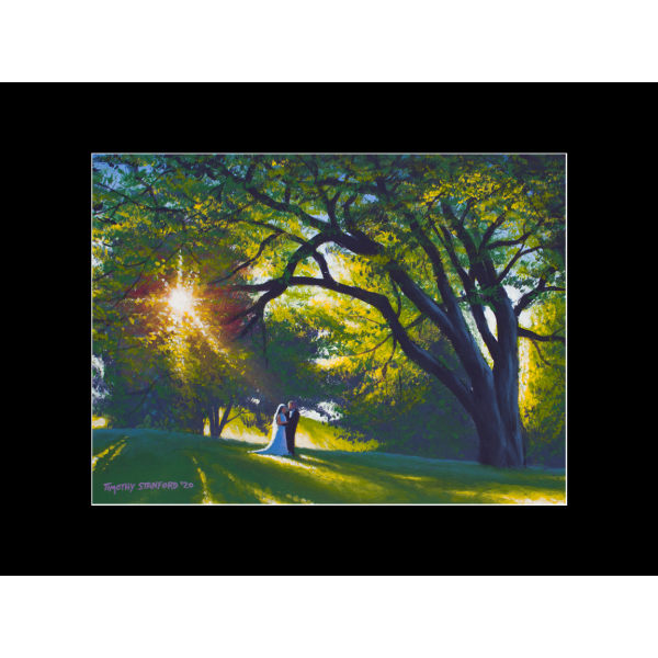 """Fine art matted print of Timothy Stanford's original acrylic painting """"Just Married"""""""