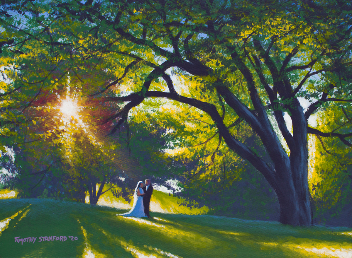 Acrylic landscape painting of a bridge and groom under a giant tree during sunset
