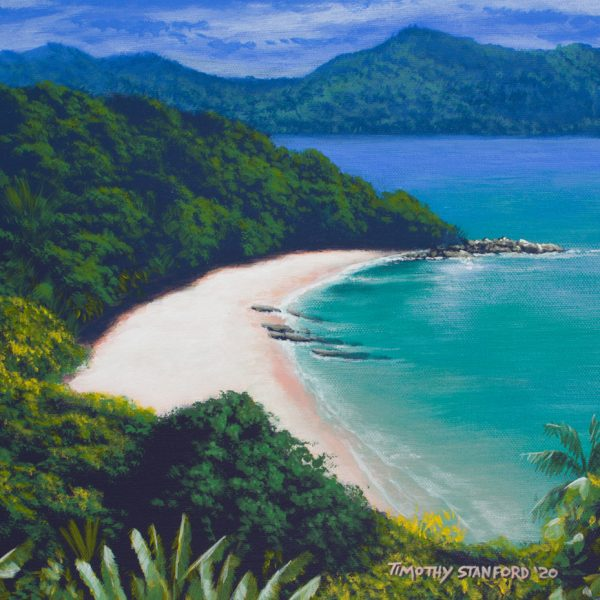 Acrylic seascape painting of a tropical island
