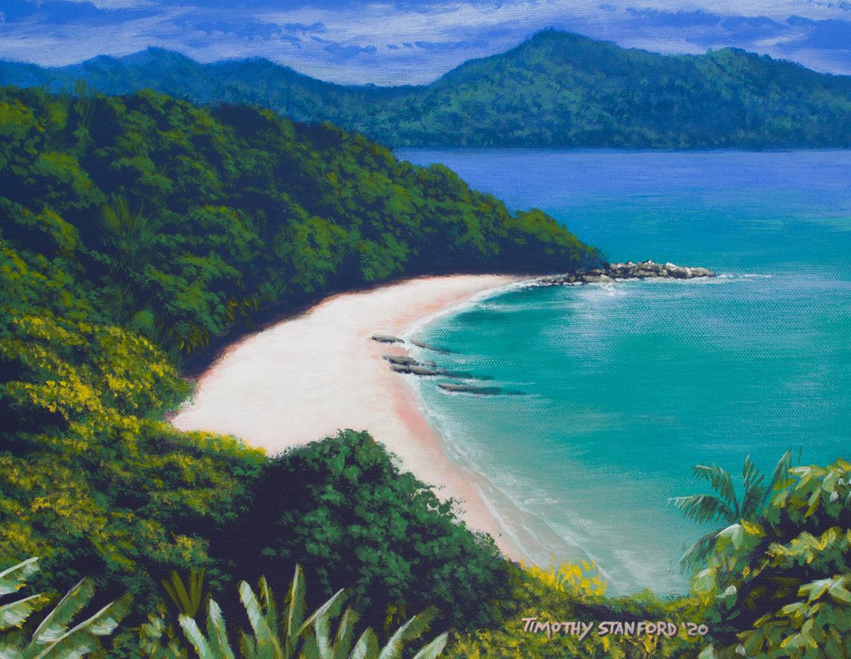Acrylic seascape painting of a tropical island