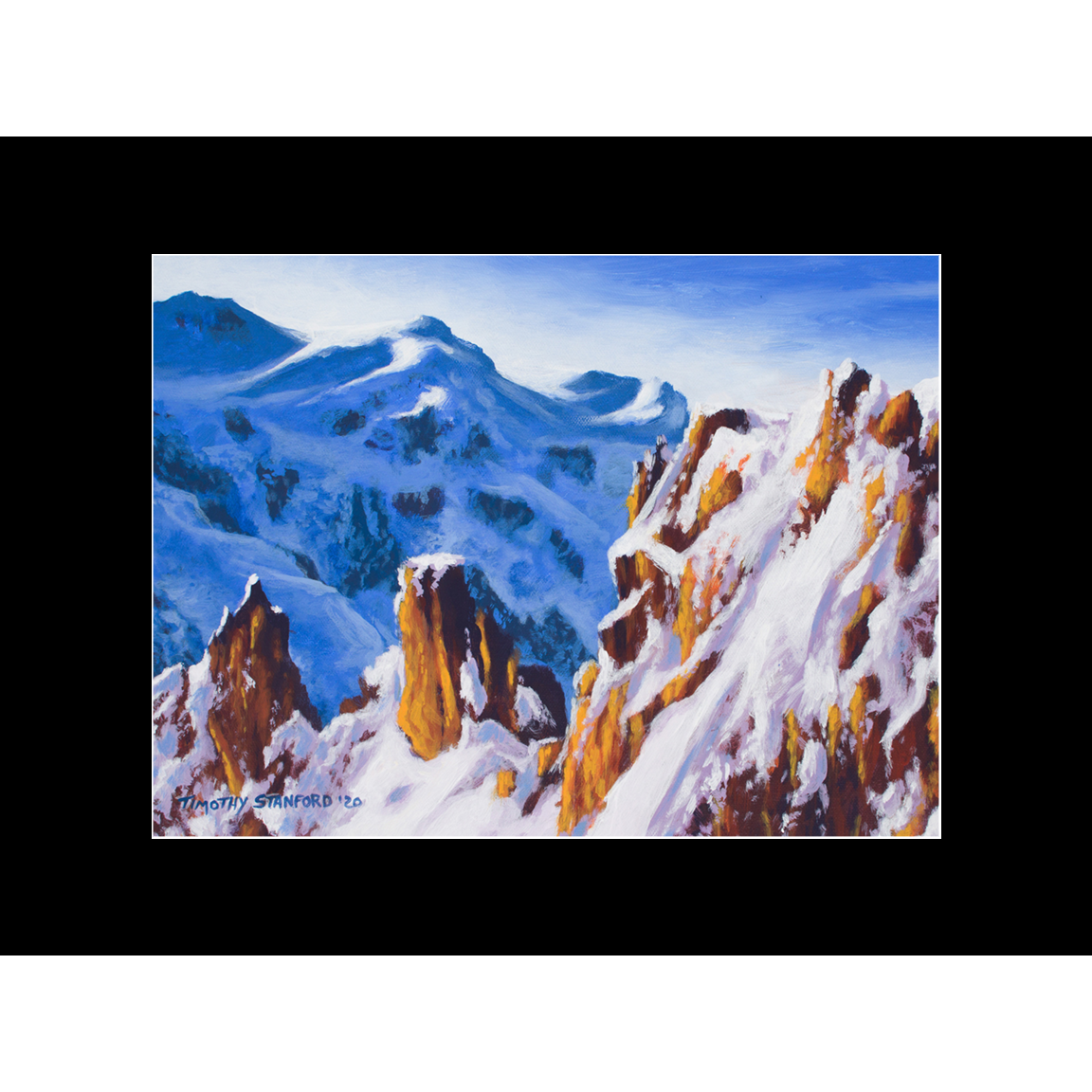"Fine art matted print of Timothy Stanford's original acrylic painting ""Twin Pinnacles"""