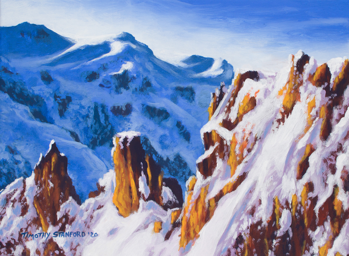 Acrylic landscape painting of two snowy mountain ranges