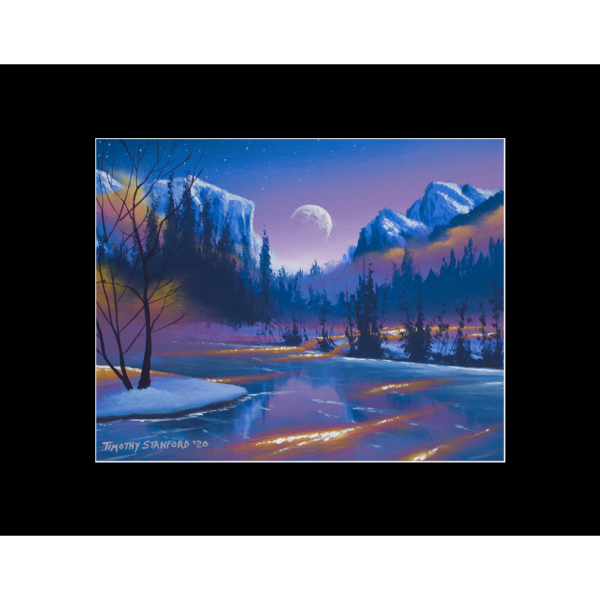 "Fine art matted print of Timothy Stanford's original acrylic painting ""Magic on Ice"""