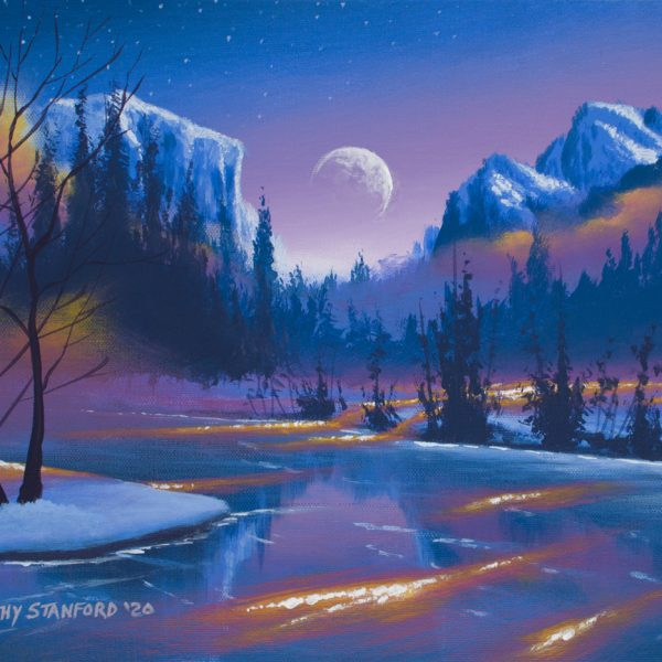 Acrylic landscape painting of a frozen lake surrounded by mountains