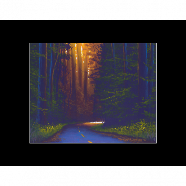 """Fine art matted print of Timothy Stanford's original acrylic painting """"Drama Road"""""""