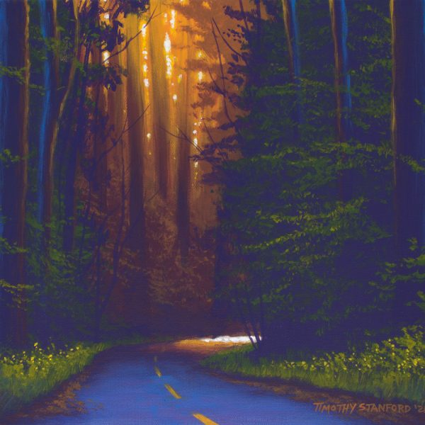 Acrylic landscape painting of a forest road at sunset