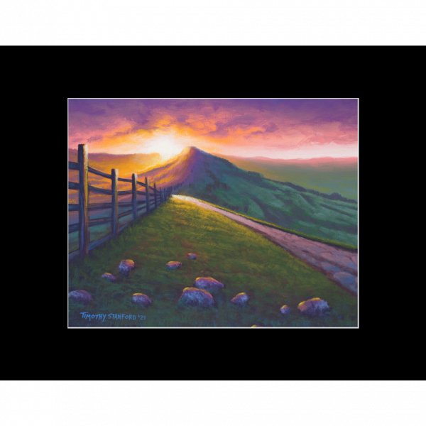 """Fine art matted print of Timothy Stanford's original acrylic painting """"Derbyshire Dawn"""""""