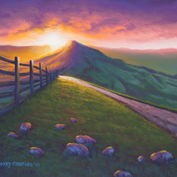 Acrylic landscape painting of a sunrise over Mam Tor Ridge in Derbyshire, England