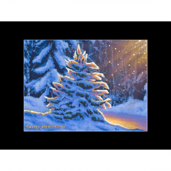 """Fine art matted print of Timothy Stanford's original acrylic painting """"First Snow"""""""