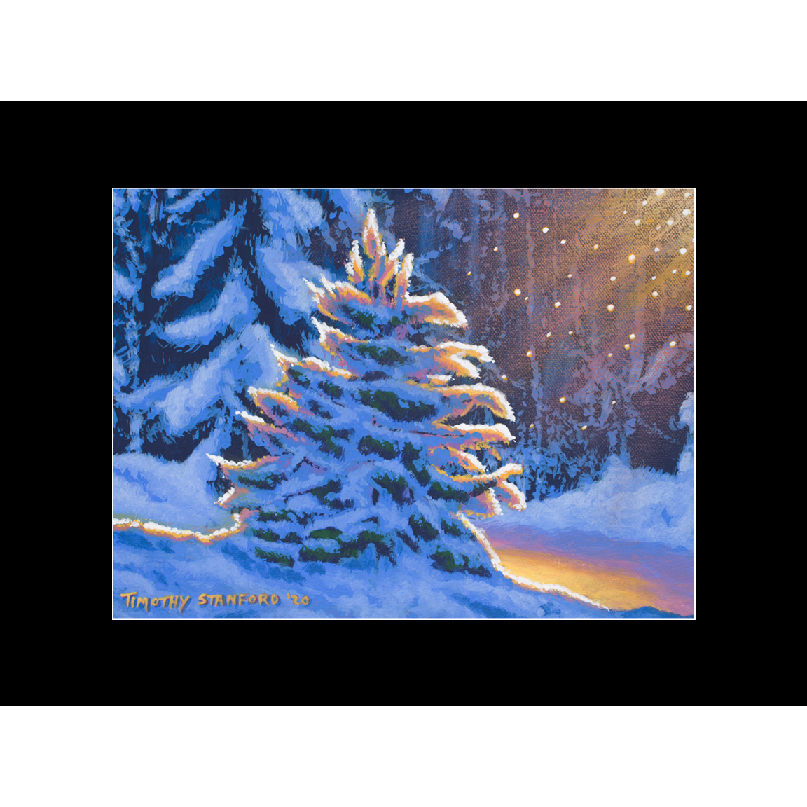 "Fine art matted print of Timothy Stanford's original acrylic painting ""First Snow"""