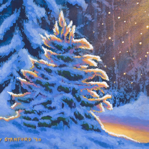 Acrylic landscape painting of a snowy evergreen tree during sunrise