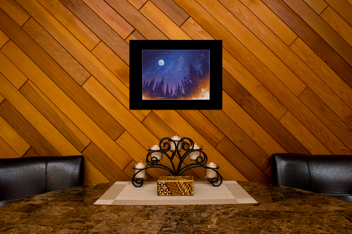 """Fine art matted print of Timothy Stanford's original acrylic painting """"Starlight Star Bright"""""""