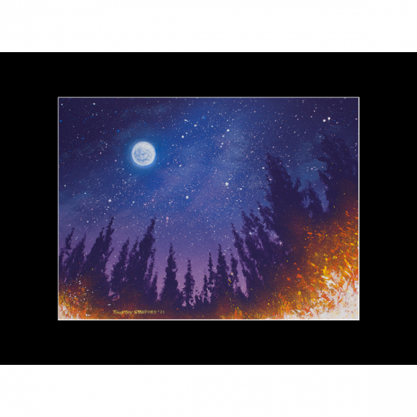 "Fine art matted print of Timothy Stanford's original acrylic painting ""Starlight Star Bright"""
