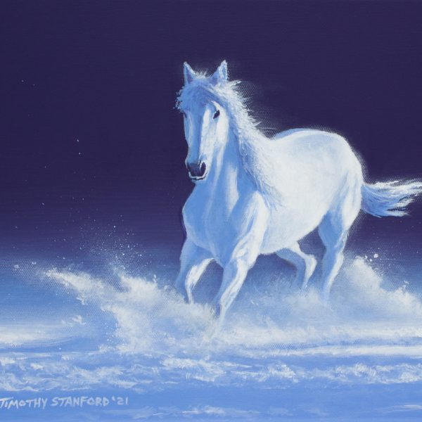 Acrylic wildlife painting of a horse running through snow