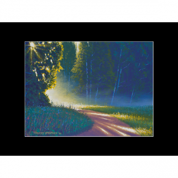 """Fine art matted print of Timothy Stanford's original acrylic painting """"Tranquil Path"""""""