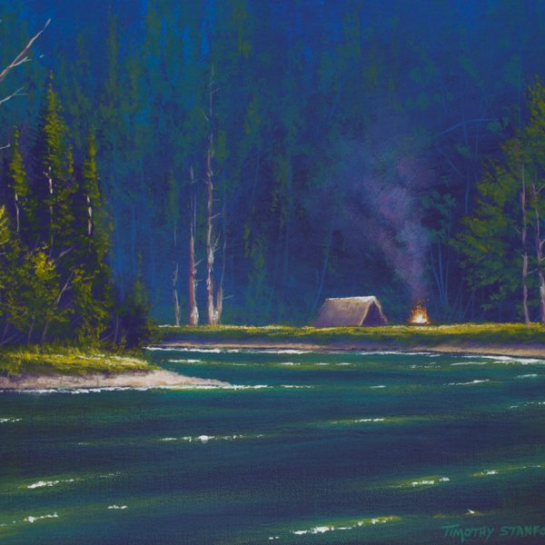 Acrylic landscape painting of a green lake in a forest with a tent and campfire
