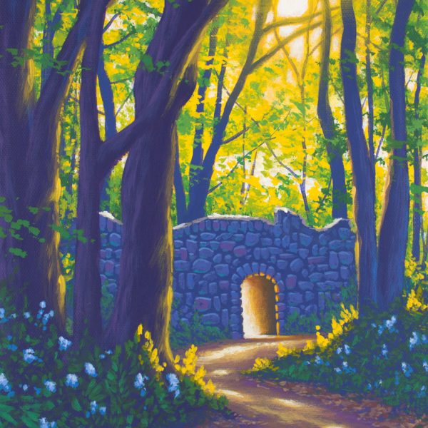 Acrylic landscape painting of a spring morning with a stone ruin in a forest