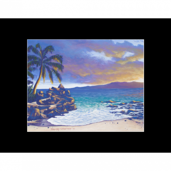 """Fine art matted print of Timothy Stanford's original acrylic painting """"On the Rocks"""""""