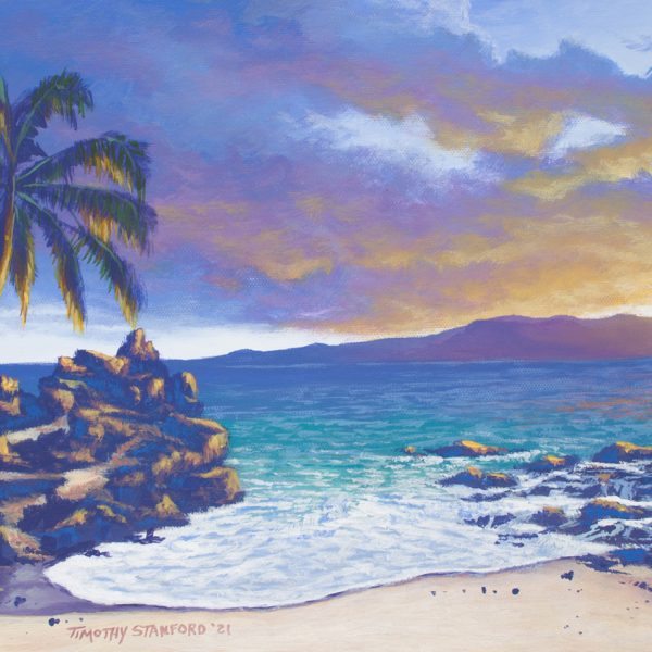 Acrylic seascape painting of rocky beach during sunset