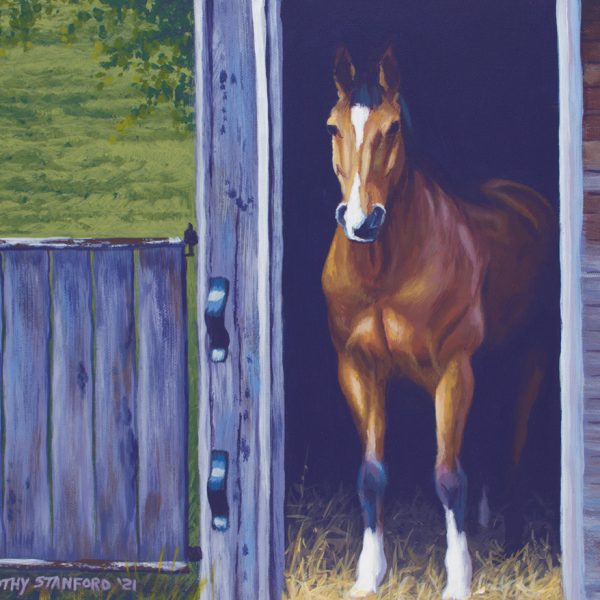 Acrylic painting of a bay horse in a rustic barn stall