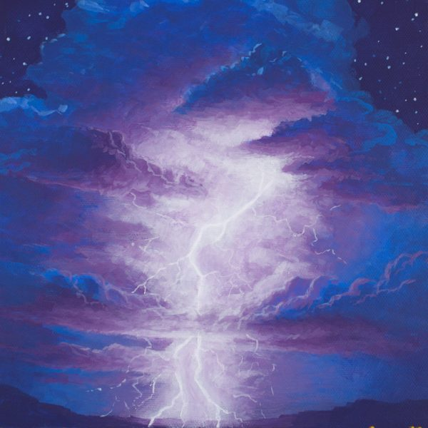 Acrylic landscape painting of a lightning storm