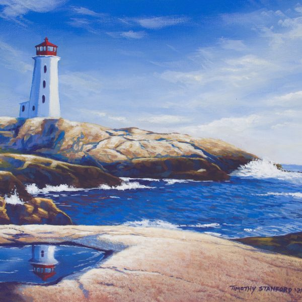 Acrylic seascape painting of a rocky bay with a lighthouse