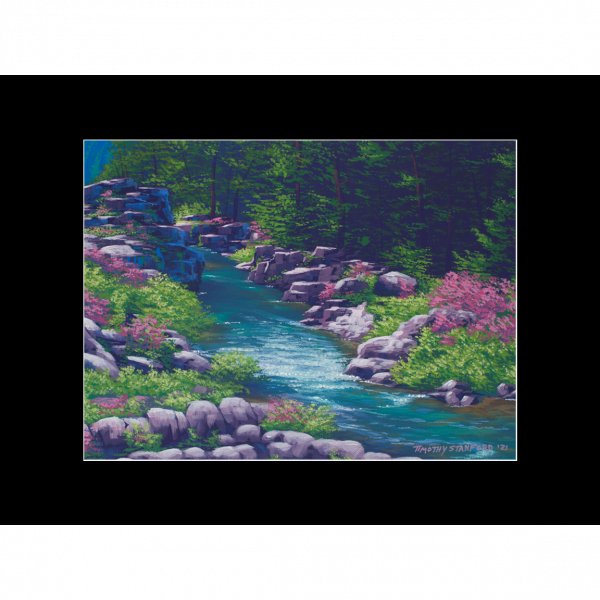 """Fine art matted print of Timothy Stanford's original acrylic painting """"The Flow of Spring"""""""