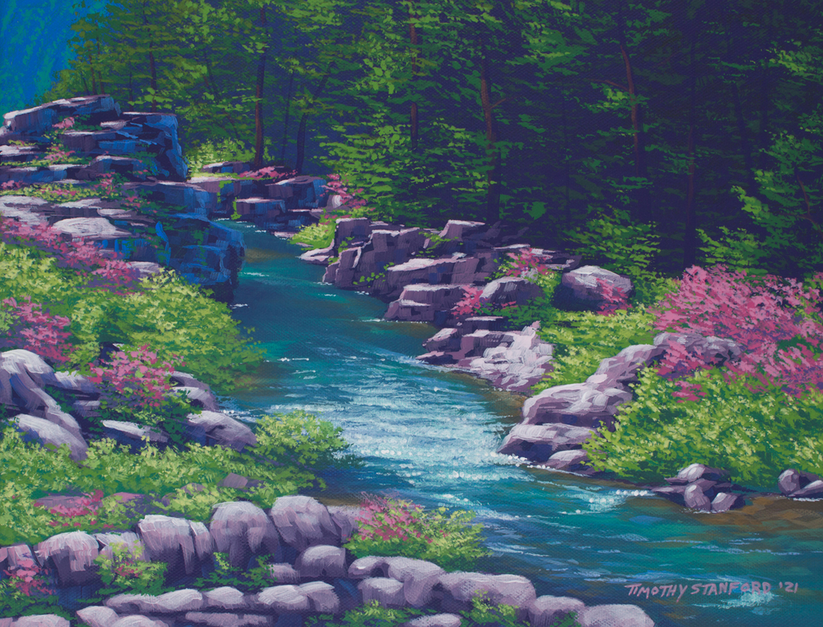 Acrylic landscape painting of a rocky stream surrounded by pink flowers during spring