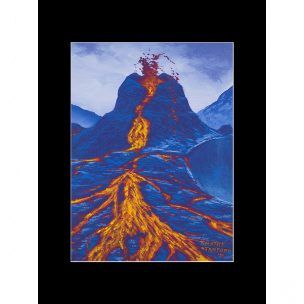 """Fine art matted print of Timothy Stanford's original acrylic painting """"Eruption"""""""