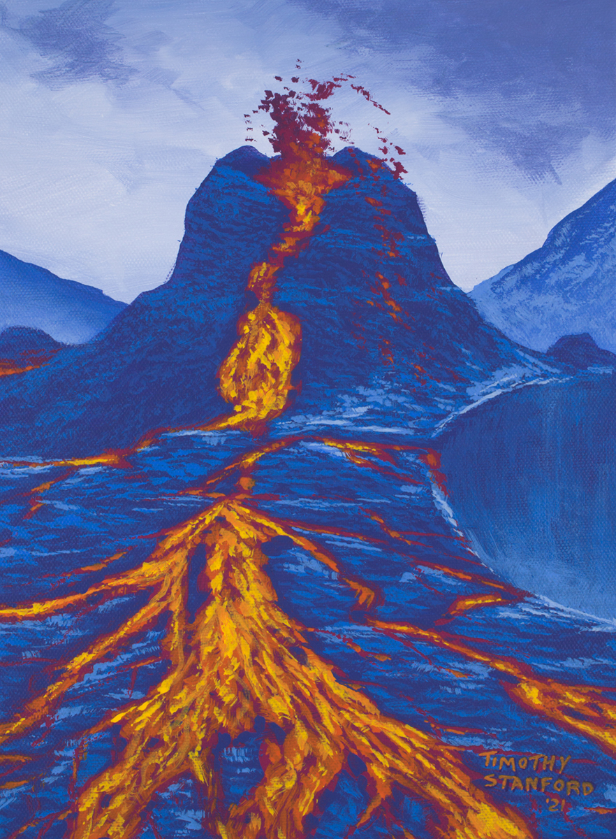 Acrylic landscape painting of an erupting volcano with lava