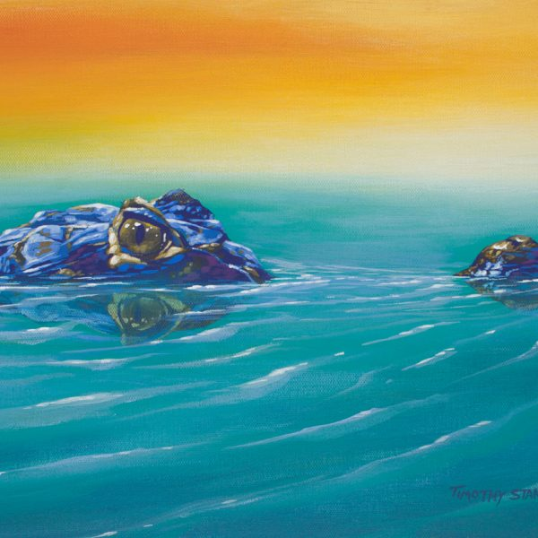 Acrylic wildlife painting of a crocodile