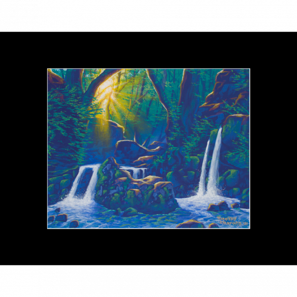 """Fine art matted print of Timothy Stanford's original acrylic painting """"Twin Falls"""""""