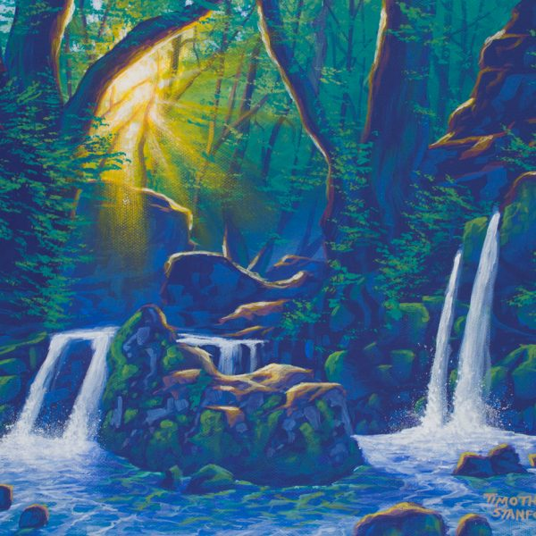 Acrylic landscape painting of two waterfalls in a misty forest