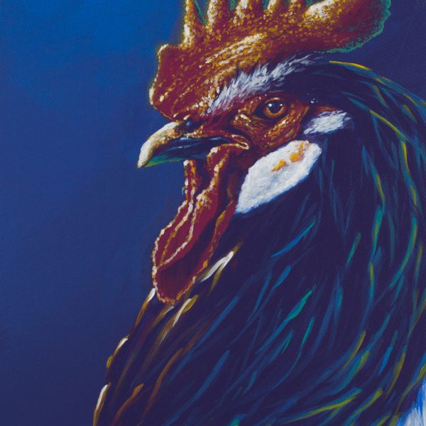 Acrylic animal painting of a rooster