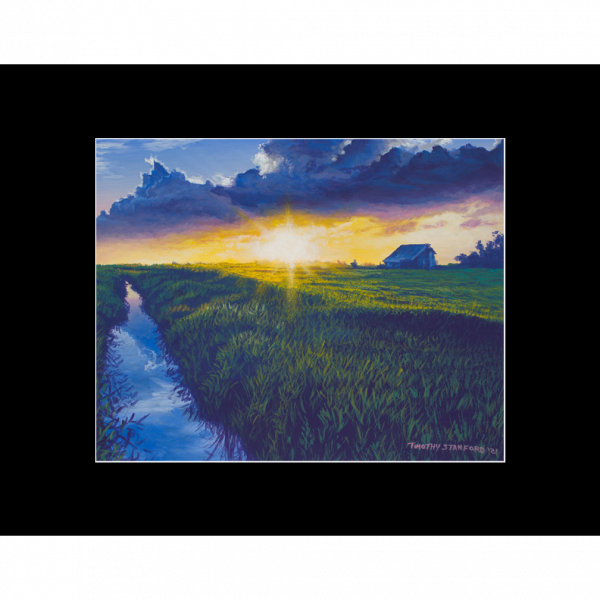 """Fine art matted print of Timothy Stanford's original acrylic painting """"Golden Hour"""""""