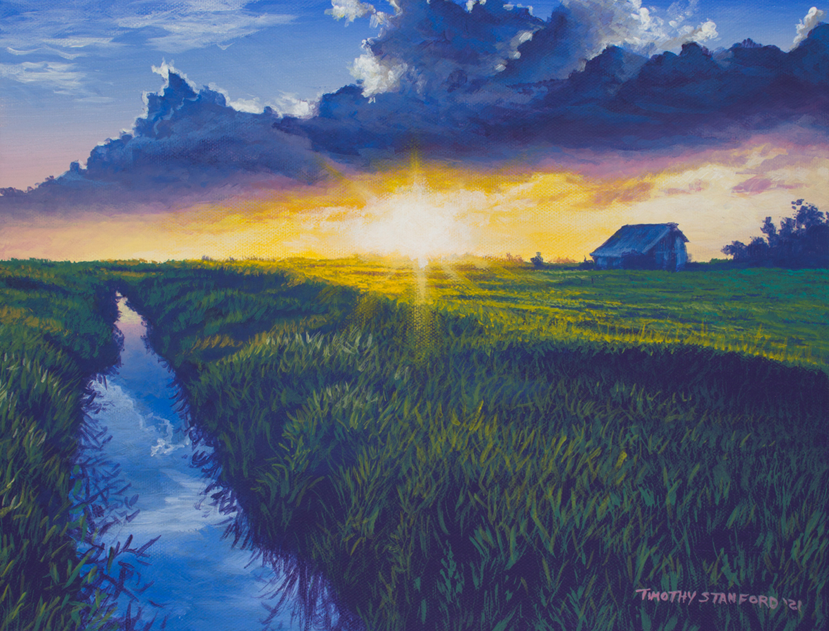 Acrylic landscape painting of an Illinois farm field during sunset