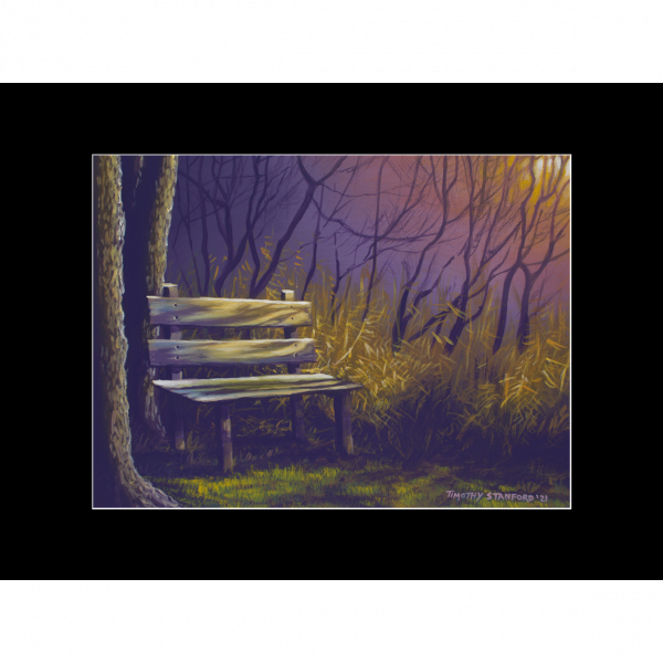 """Fine art matted print of Timothy Stanford's original acrylic painting """"Empty Seat"""""""