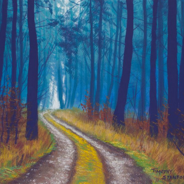 Acrylic landscape painting of a path through a pine forest during fall