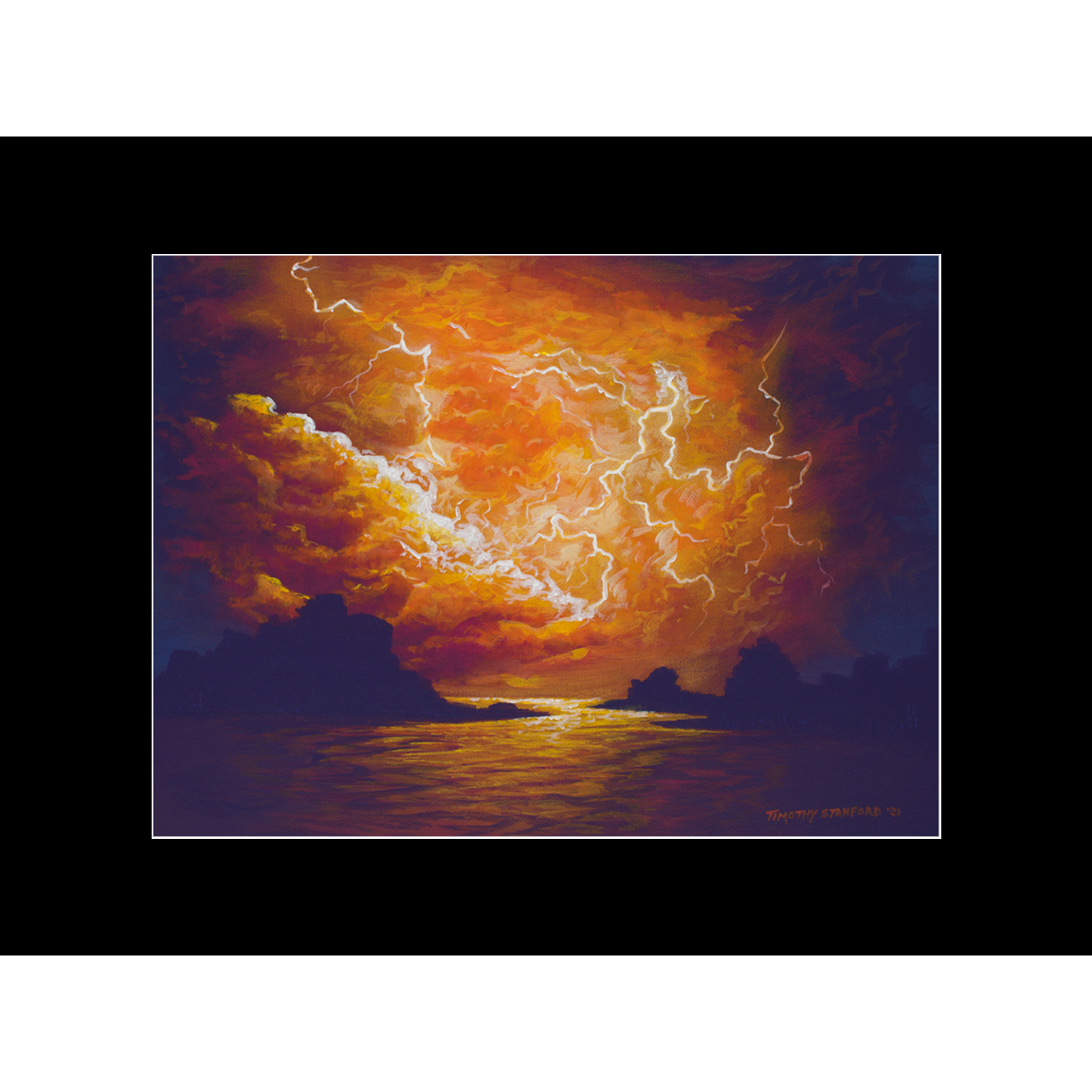"""Fine art matted print of Timothy Stanford's original acrylic painting """"Fire in the Sky"""""""