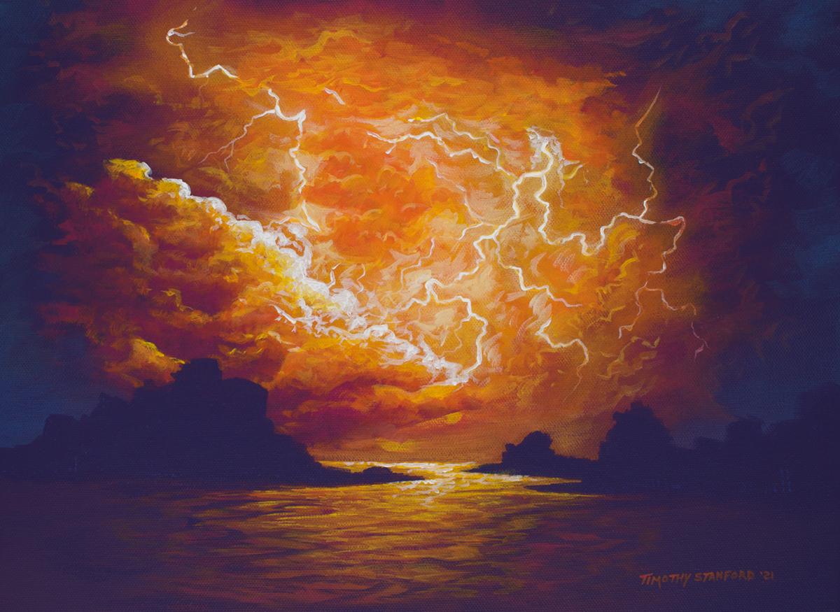 Acrylic seascape painting of a fiery orange lightning storm